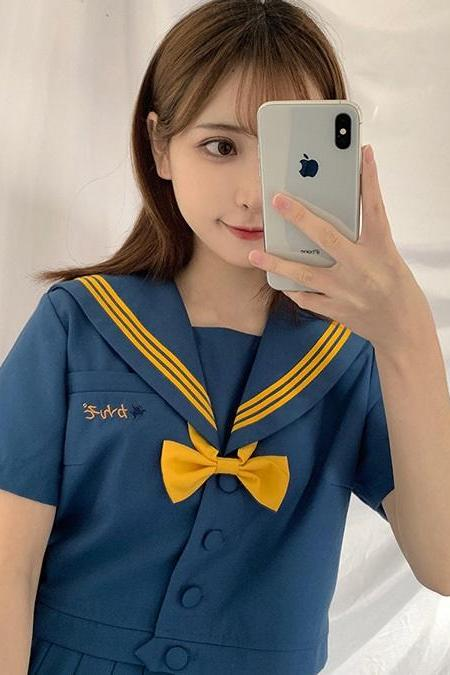 Orthodox Xiaopu Sheng JK Uniform Transformed Skirt Three Sailor Suits Japanese Soft Girls School Uniform Class Uniform Academy Wind Suit Skirt