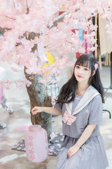Yamakura Japanese Student Class Uniform JK Uniform Orthodox Soft Girls Grey and Pink Embroidered Sailor Clothes Long and Short Sleeve Suit Summer Girl